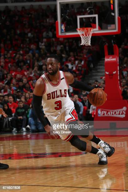 Dwyane Wade of the Chicago Bulls drives to the basket against the Boston Celtics in Game Six of the Eastern Conference Quartefinals of the 2017 NBA...