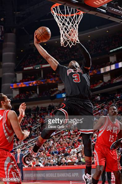 Dwyane Wade of the Chicago Bulls drives to the basket during the game against the Houston Rockets on February 3 2017 at the Toyota Center in Houston...