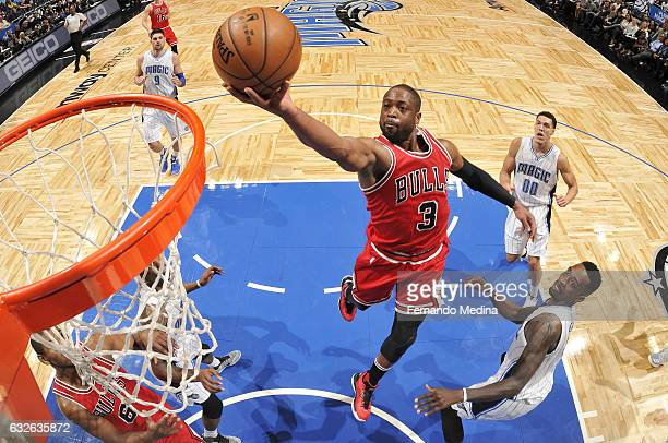 Dwyane Wade of the Chicago Bulls goes for the lay up during the game against the Orlando Magic on January 24 2017 at Amway Center in Orlando Florida...