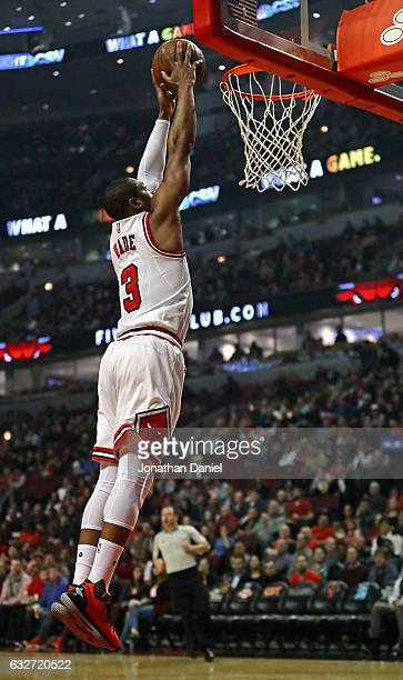 Dwyane Wade of the Chicago Bulls goes up for a dunk against the Atlanta Hawks at the United Center on January 25 2017 in Chicago Illinois NOTE TO...