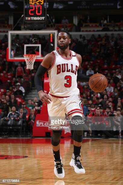 Dwyane Wade of the Chicago Bulls handles the ball against the Boston Celtics during Game Three of the Eastern Conference Quarterfinals of the 2017...