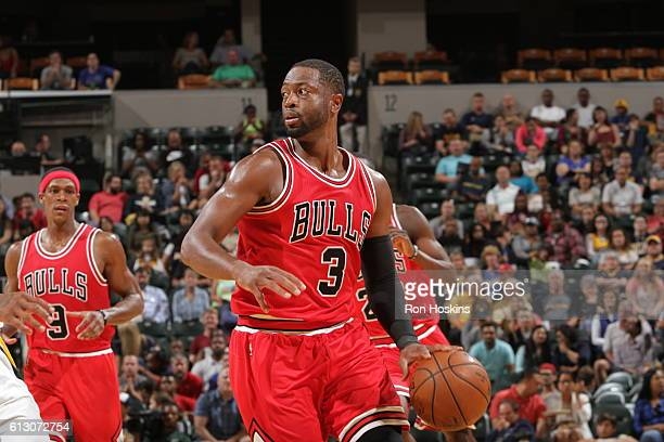 Dwyane Wade of the Chicago Bulls handles the ball against the Indiana Pacers during a preseason game on October 6 2016 at Bankers Life Fieldhouse in...