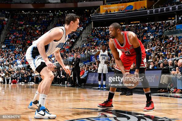 Dwyane Wade of the Chicago Bulls handles the ball during the game against the Orlando Magic on January 24 2017 at Amway Center in Orlando Florida Or...