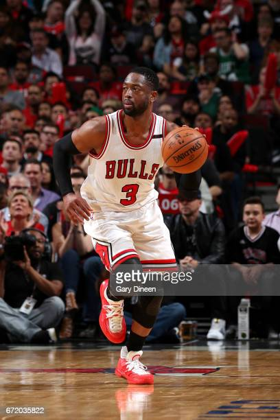Dwyane Wade of the Chicago Bulls handles the ball during the game against the Boston Celtics in Game Four during the Eastern Quarterfinals of the...