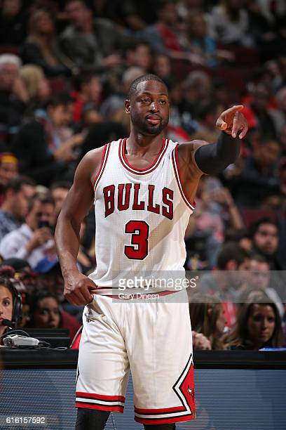 Dwyane Wade of the Chicago Bulls looks on during the game against the Cleveland Cavaliers on October 14 2016 at the United Center in Chicago Illinois...