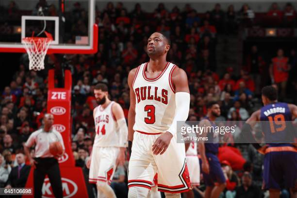 Dwyane Wade of the Chicago Bulls looks on during the game against the Phoenix Suns on February 24 2017 at the United Center in Chicago Illinois NOTE...