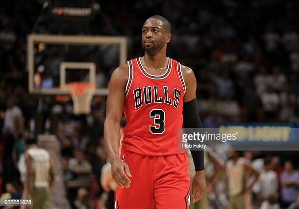 Dwyane Wade of the Chicago Bulls looks on during the second half of the game against the Miami Heat at American Airlines Arena on November 10 2016 in...
