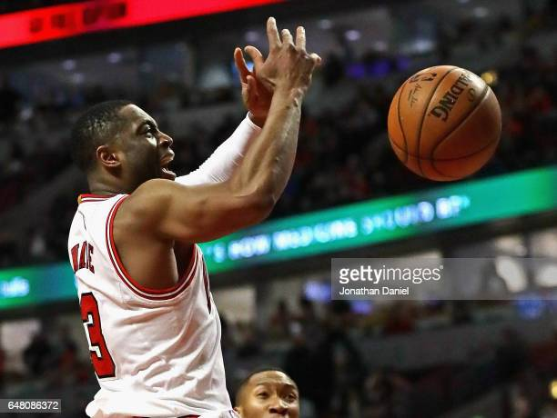Dwyane Wade of the Chicago Bulls looses control of the ball as he goes up for a shot against the LA Clippers at the United Center on March 4 2017 in...