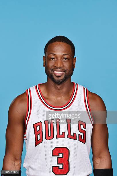 Dwyane Wade of the Chicago Bulls poses for a head shot during the 20162017 Chicago Bulls Media Day on September 26 2016 at the Advocate Center in...