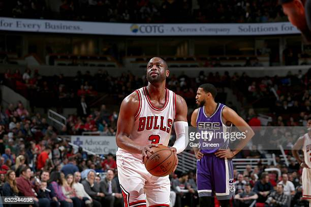 Dwyane Wade of the Chicago Bulls shoots a free throw against the Sacramento Kings on January 21 2017 at the United Center in Chicago Illinois NOTE TO...