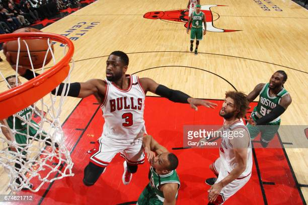Dwyane Wade of the Chicago Bulls shoots the ball against the Boston Celtics in Game Six of the Eastern Conference Quartefinals of the 2017 NBA...