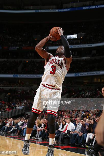 Dwyane Wade of the Chicago Bulls shoots the ball against the Cleveland Cavaliers on October 14 2016 at the United Center in Chicago Illinois NOTE TO...