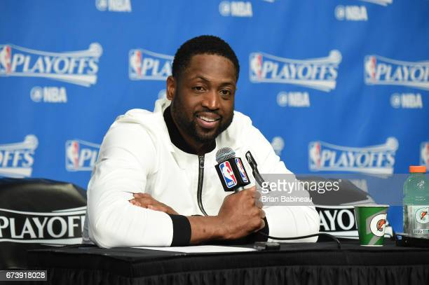 Dwyane Wade of the Chicago Bulls talks to the media during a press conference after Game Five of the Eastern Conference Quarterfinals against the...