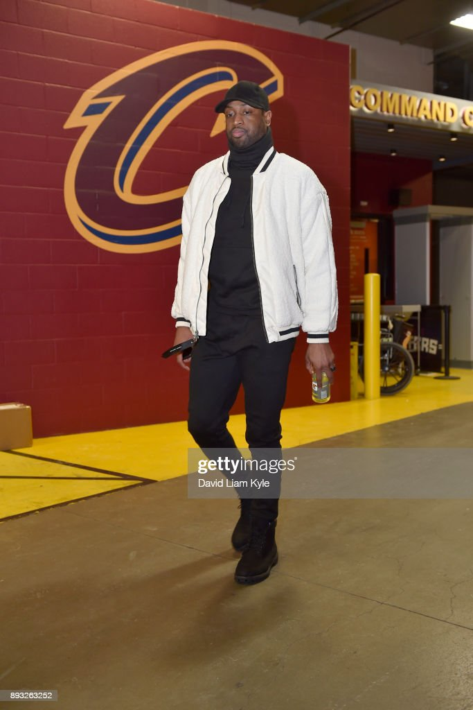 Dwyane Wade #9 of the Cleveland Cavaliers arrives before the game against the Los Angeles Lakers on December 14, 2017 at Quicken Loans Arena in Cleveland, Ohio.