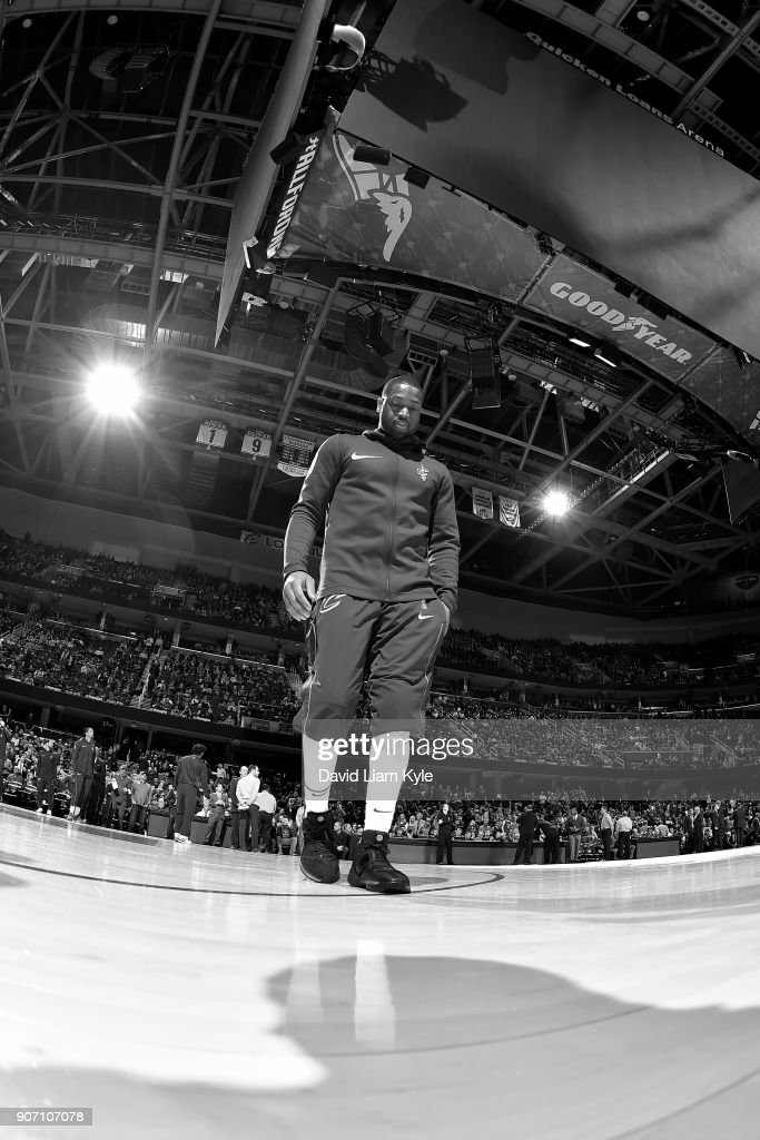 Dwyane Wade #9 of the Cleveland Cavaliers before the game against the Orlando Magic on January 18, 2018 at Quicken Loans Arena in Cleveland, Ohio.