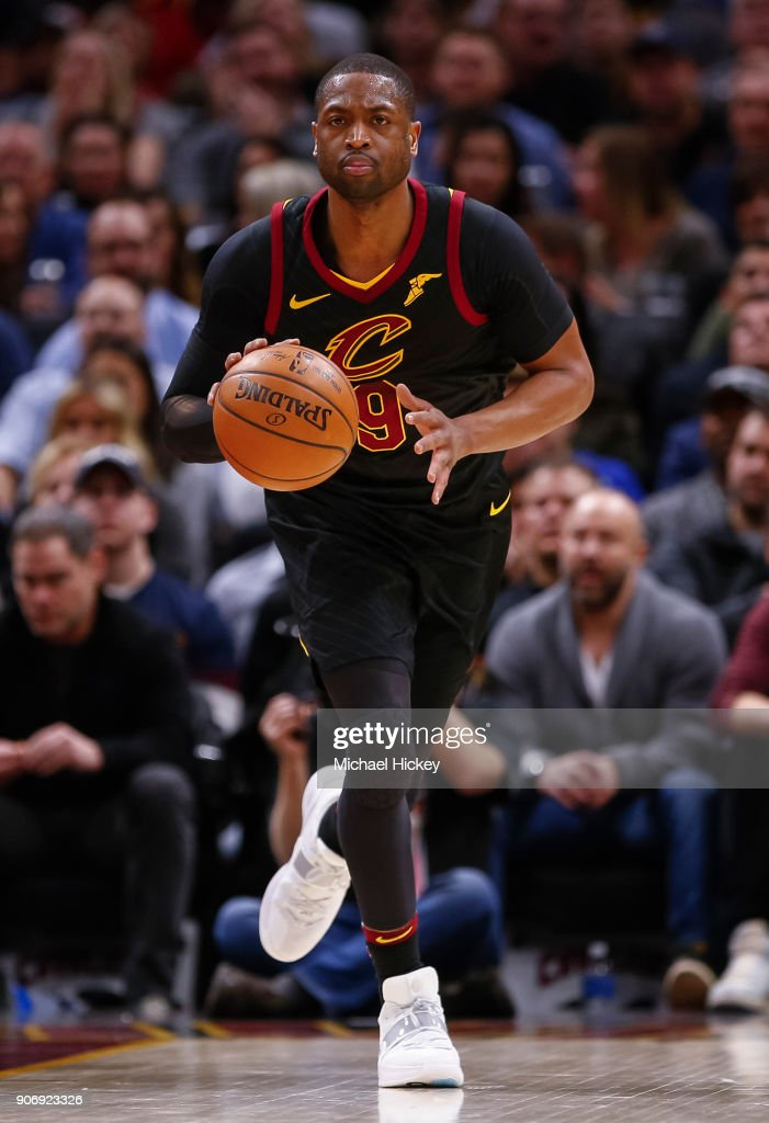 Dwyane Wade #9 of the Cleveland Cavaliers brings the ball up court during the game against the Golden State Warriors at Quicken Loans Arena on January 15, 2018 in Cleveland, Ohio.