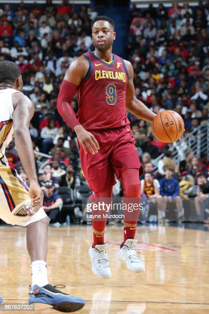 Dwyane Wade of the Cleveland Cavaliers handles the ball against the New Orleans Pelicans on October 28 2017 at the Smoothie King Center in New...