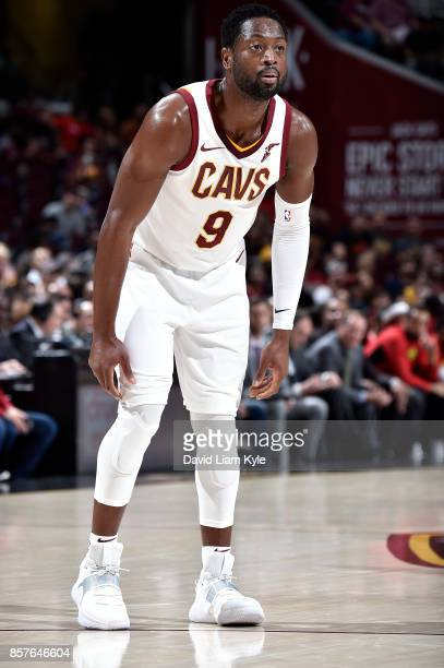 Cedi Osman of the Cleveland Cavaliers looks on during the preseason game against the Atlanta Hawks on October 4 2017 at Quicken Loans Arena in...
