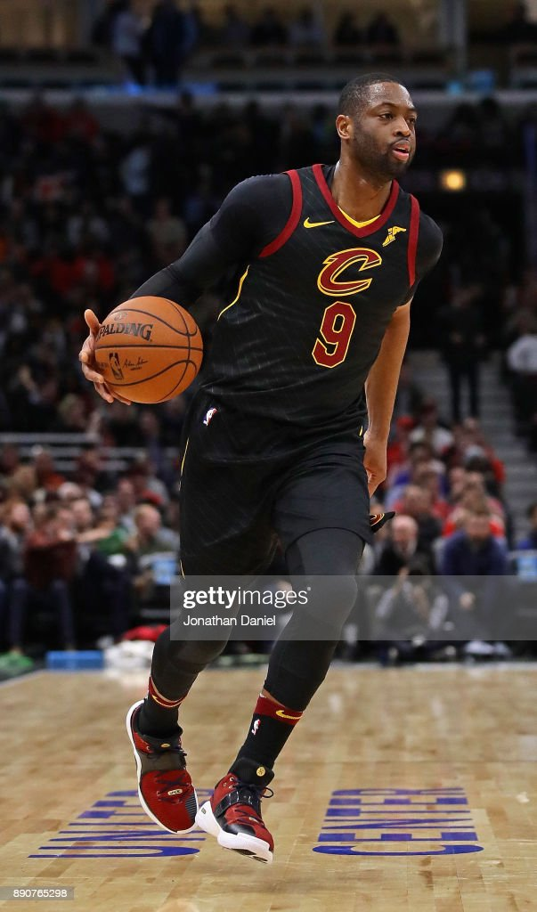 Dwyane Wade #9 of the Cleveland Cavaliers moves against the Chicago Bulls at the United Center on December 4, 2017 in Chicago, Illinois. The Cavaliers defeated the Bulls 113-91.