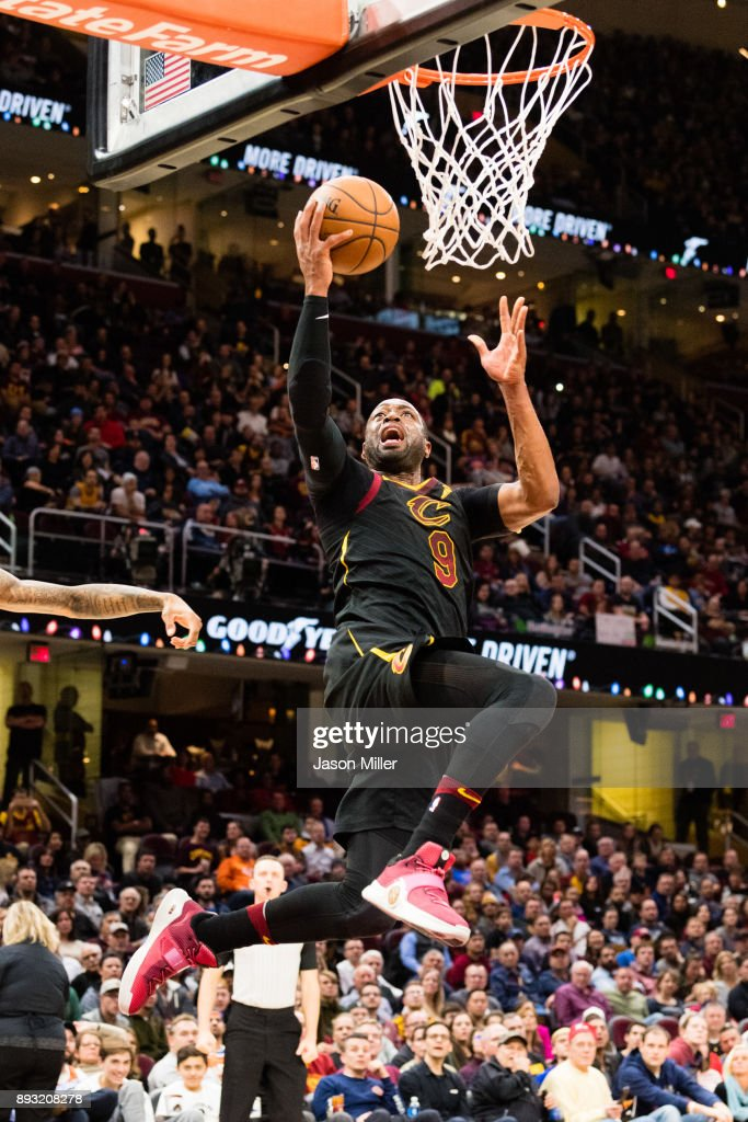 Dwyane Wade #9 of the Cleveland Cavaliers scores during the second half against the Los Angeles Lakers at Quicken Loans Arena on December 14, 2017 in Cleveland, Ohio. The Cavaliers defeated the Lakers 121-112.