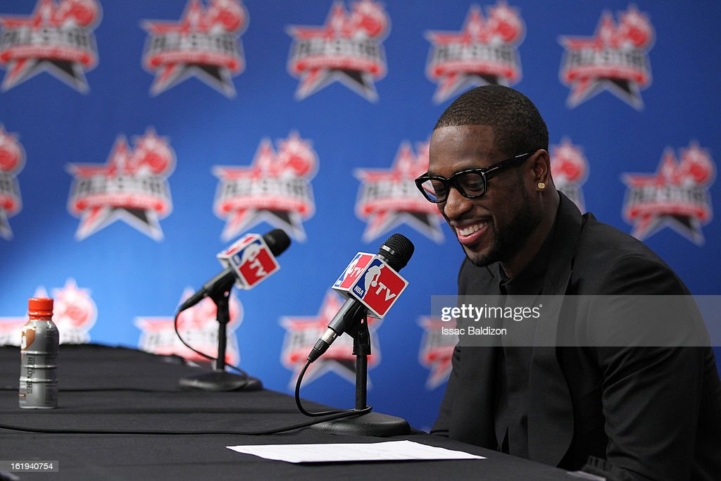 Dwyane Wade #3 of the Eastern Conference All-Stars is interviewed after the 2013 NBA All-Star Game on February 17, 2013 at Toyota Center in Houston, Texas.