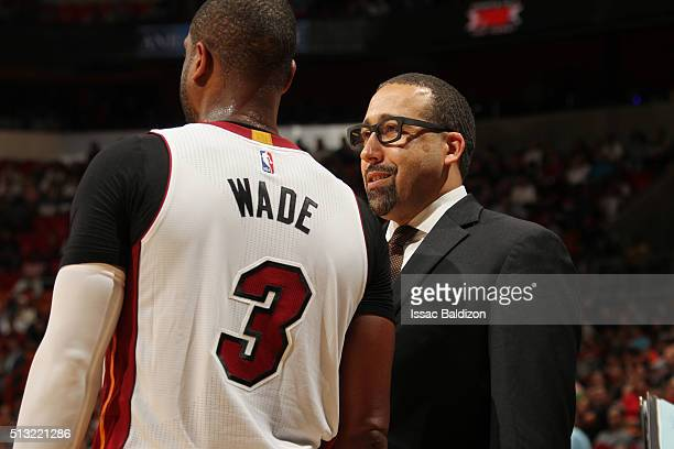 Dwyane Wade of the Miami Heat and assistant head coach David Fizdale during the game against the Chicago Bulls on March 1 2016 at American Airlines...