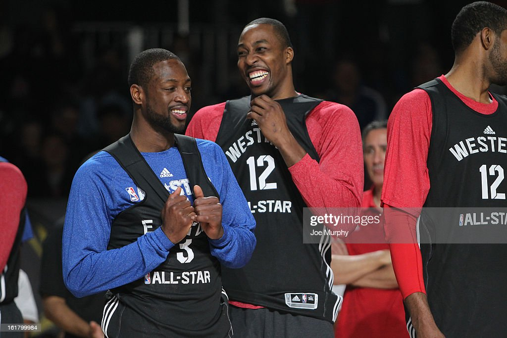 <a gi-track='captionPersonalityLinkClicked' href=/galleries/search?phrase=Dwyane+Wade&family=editorial&specificpeople=201481 ng-click='$event.stopPropagation()'>Dwyane Wade</a> #3 of the Miami Heat and <a gi-track='captionPersonalityLinkClicked' href=/galleries/search?phrase=Dwight+Howard&family=editorial&specificpeople=201570 ng-click='$event.stopPropagation()'>Dwight Howard</a> #12 of the Los Angeles Lakers participate during the NBA All-Star Practice in Sprint Arena during the 2013 NBA All-Star Weekend on February 16, 2013 at the George R. Brown Convention Center in Houston, Texas.