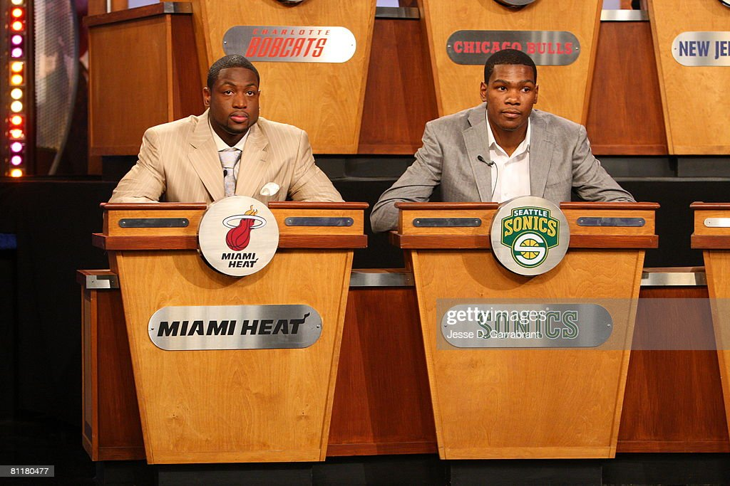 Dwyane Wade (L) of the Miami Heat and Kevin Durant of the Seattle SuperSonics attend the 2008 NBA Draft Lottery at the NBATV Studios May 20, 2008 in Secaucus, New Jersey.