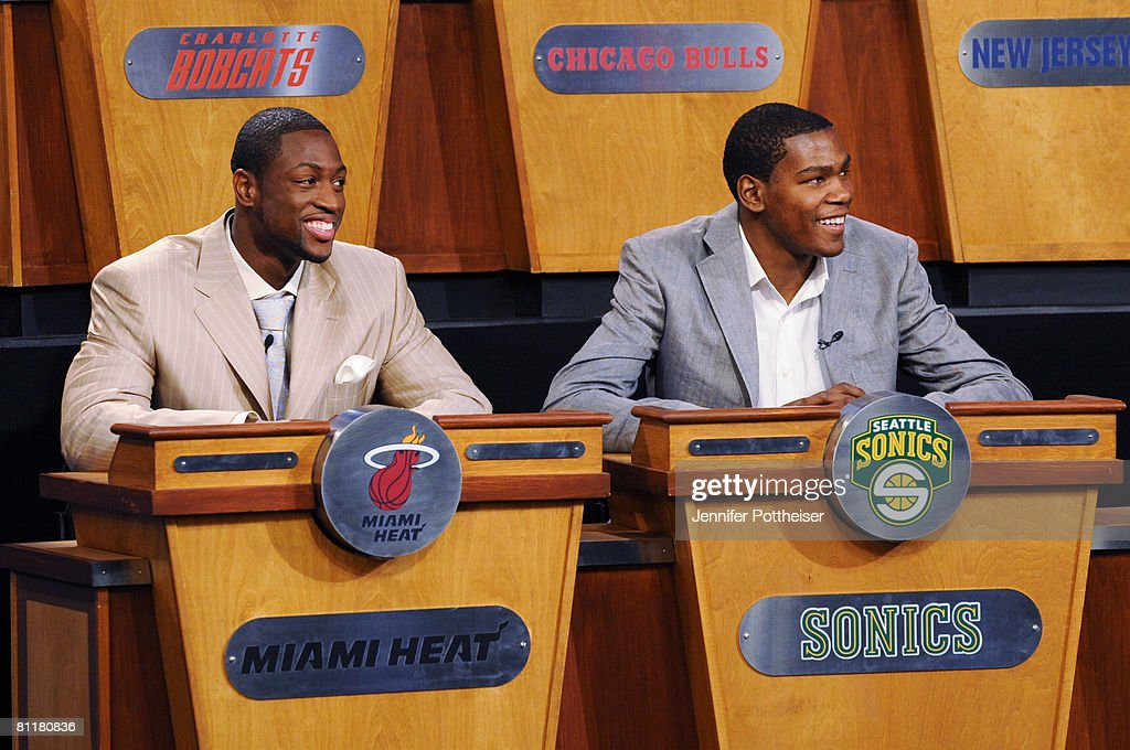 Dwyane Wade of the Miami Heat and Kevin Durant of the Seattle Supersonics react during the 2008 NBA Draft Lottery at the NBATV Studios on May 20, 2008 in Secaucus, New Jersey.