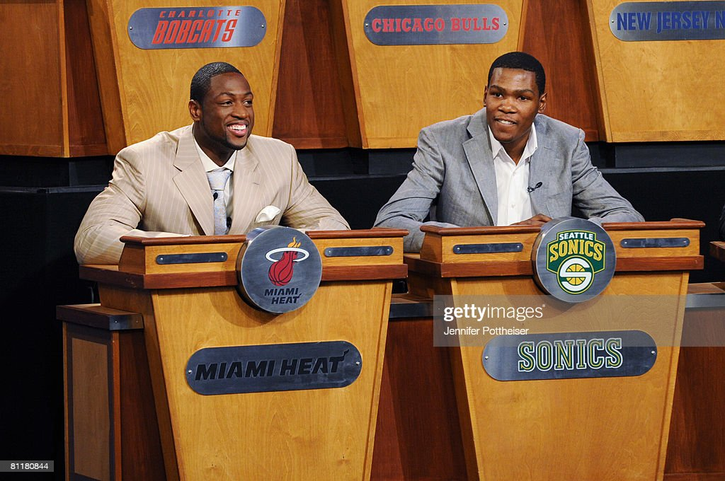 Dwyane Wade of the Miami Heat and Kevin Durant of the Seattle SuperSonics share a laugh during the 2008 NBA Draft Lottery at the NBATV Studios on May 20, 2008 in Secaucus, New Jersey.