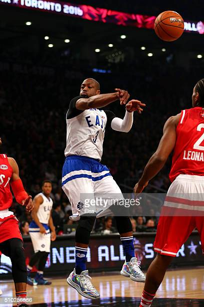 Dwyane Wade of the Miami Heat and the Eastern Conference passes in the first quarter against the Western Conference during the NBA AllStar Game 2016...