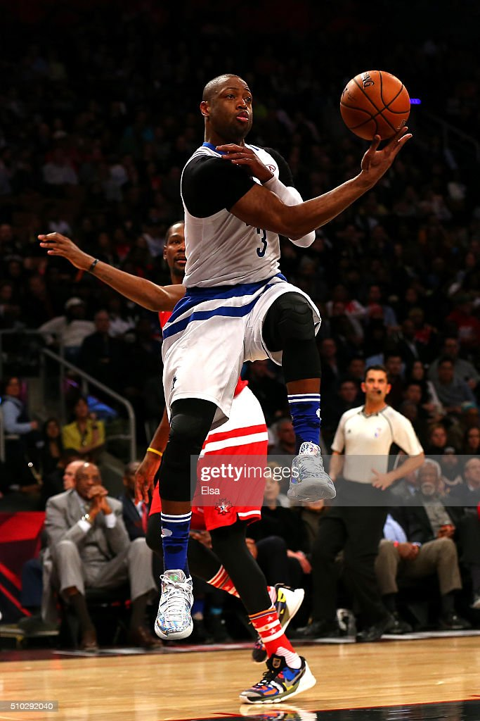 Dwyane Wade of the Miami Heat and the Eastern Conference passes in the first half against the Western Conference during the NBA AllStar Game 2016 at...