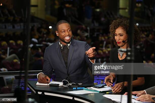Dwyane Wade of the Miami Heat appears on ESPN before Game Six of the 2015 NBA Finals between the Cleveland Cavaliers and the Golden State Warriors on...