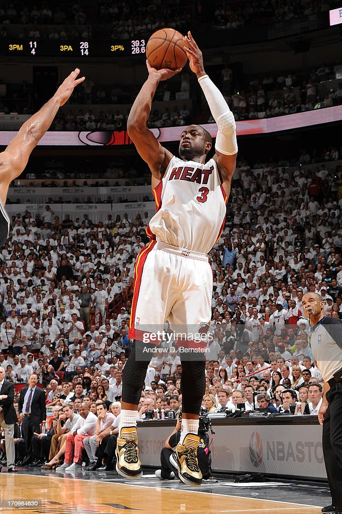 Dwyane Wade #3 of the Miami Heat attempts a shot during Game Seven of the 2013 NBA Finals on June 20, 2013 at the American Airlines Arena in Miami, Florida.