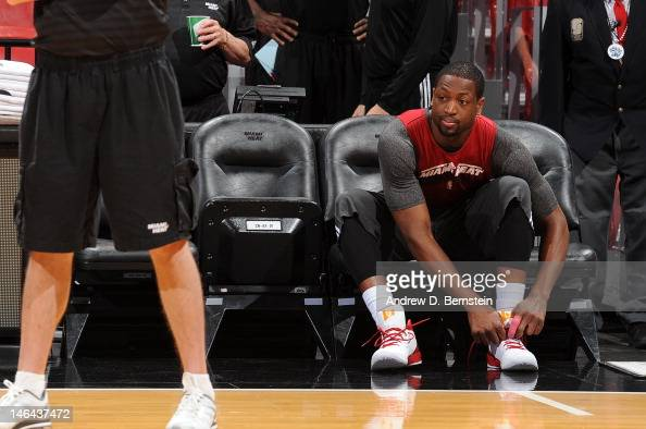 Dwyane Wade of the Miami Heat attends NBA Finals Media Availability on June 16 2012 at American Airlines Arena in Miami Florida NOTE TO USER User...