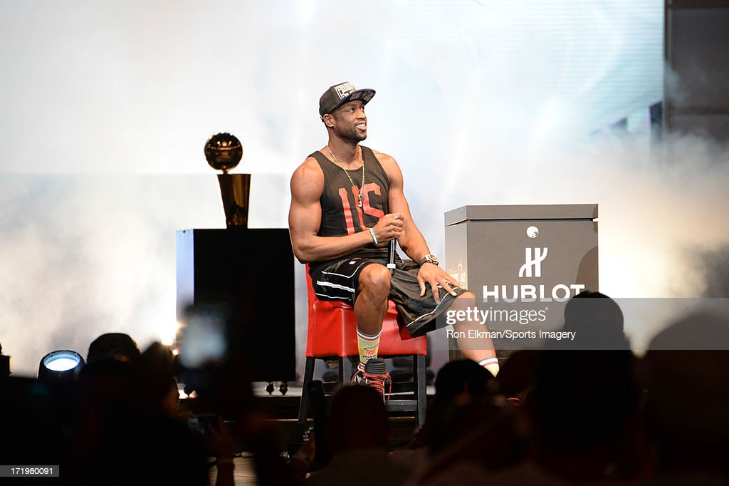 <a gi-track='captionPersonalityLinkClicked' href=/galleries/search?phrase=Dwyane+Wade&family=editorial&specificpeople=201481 ng-click='$event.stopPropagation()'>Dwyane Wade</a> of the Miami Heat attends the NBA Championship victory rally at the AmericanAirlines Arena on June 24, 2013 in Miami, Florida. The Miami Heat defeated the San Antonio Spurs in the NBA Finals.