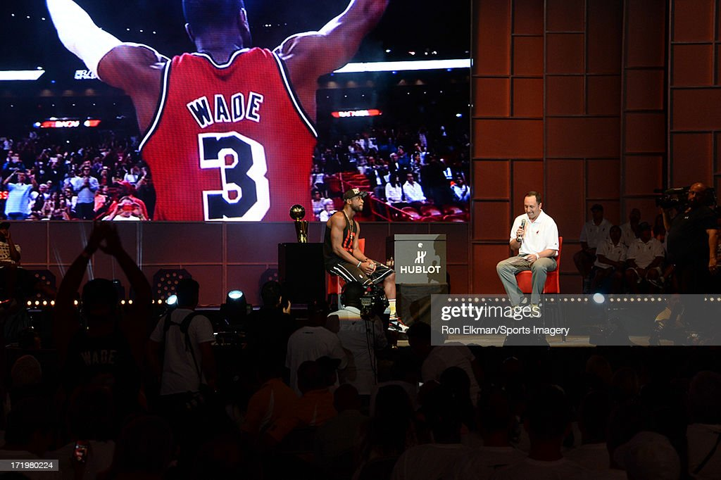 Dwyane Wade of the Miami Heat attends the NBA Championship victory rally at the AmericanAirlines Arena on June 24, 2013 in Miami, Florida. The Miami Heat defeated the San Antonio Spurs in the NBA Finals.