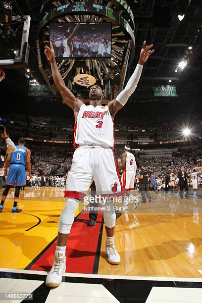 Dwyane Wade of the Miami Heat celebrates after winning the 2012 NBA Finals at American Airlines Arena on June 21 2012 in Miami Florida NOTE TO USER...
