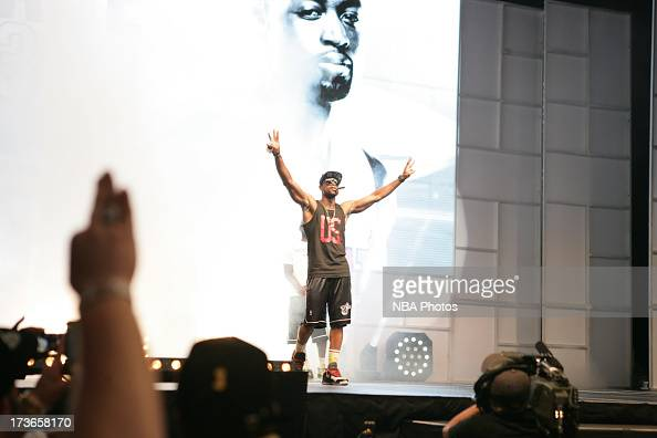 Dwyane Wade of the Miami Heat celebrates during the rally for seasonticket holders at the American Airlines Arena after their NBA championship parade...