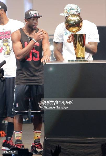 Dwyane Wade of the Miami Heat celebrates the NBA Championship victory rally at the AmericanAirlines Arena on June 24 2013 in Miami Florida The Miami...