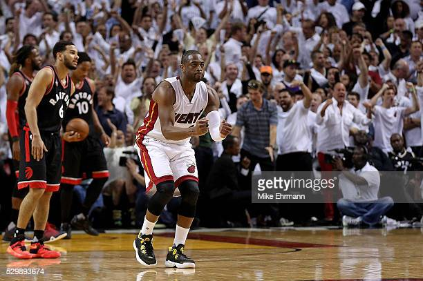 Dwyane Wade of the Miami Heat celebrates winning Game 4 of the Eastern Conference Semifinals of the 2016 NBA Playoffs against the Toronto Raptors at...