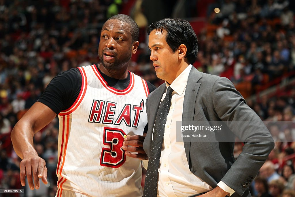 <a gi-track='captionPersonalityLinkClicked' href=/galleries/search?phrase=Dwyane+Wade&family=editorial&specificpeople=201481 ng-click='$event.stopPropagation()'>Dwyane Wade</a> #3 of the Miami Heat discusses with <a gi-track='captionPersonalityLinkClicked' href=/galleries/search?phrase=Erik+Spoelstra&family=editorial&specificpeople=573142 ng-click='$event.stopPropagation()'>Erik Spoelstra</a> of the Miami Heat during the game against the Los Angeles Clippers on February 7, 2016 at AmericanAirlines Arena in Miami, Florida.