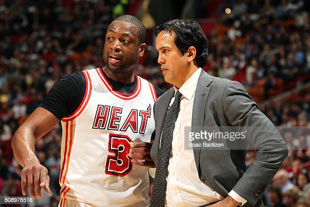 Dwyane Wade of the Miami Heat discusses with Erik Spoelstra of the Miami Heat during the game against the Los Angeles Clippers on February 7 2016 at...