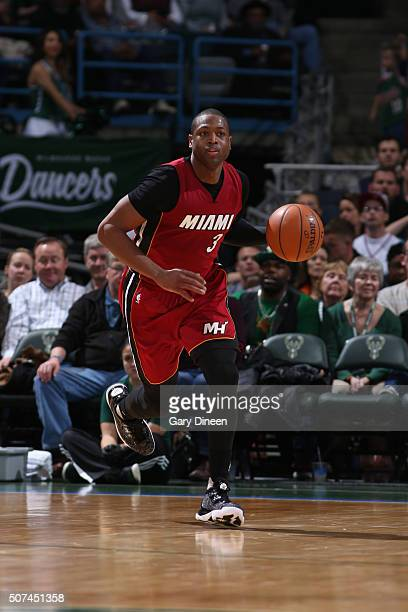 Dwyane Wade of the Miami Heat dribbles the ball against the Milwaukee Bucks on January 29 2016 at the BMO Harris Bradley Center in Milwaukee...