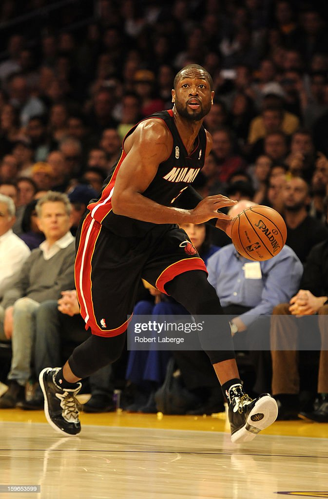 Dwyane Wade #3 of the Miami Heat dribbles the ball during the game against the Los Angeles Lakers at Staples Center on January 17, 2013 in Los Angeles, California.