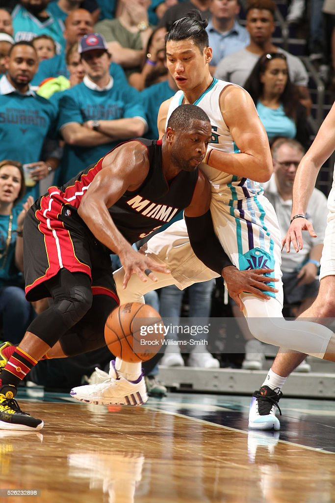 Dwyane Wade #3 of the Miami Heat drives against Jeremy Lin #7 of the Charlotte Hornets in Game Six of the Eastern Conference Quarterfinals during the 2016 NBA Playoffs on April 29, 2016 at Time Warner Cable Arena in Charlotte, North Carolina.