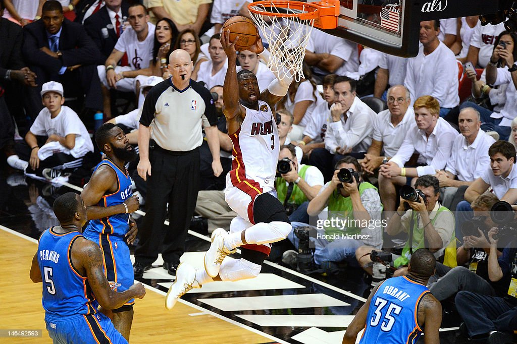 Dwyane Wade #3 of the Miami Heat drives for a shot attempt in the first half against the Oklahoma City Thunder in Game Three of the 2012 NBA Finals on June 17, 2012 at American Airlines Arena in Miami, Florida.