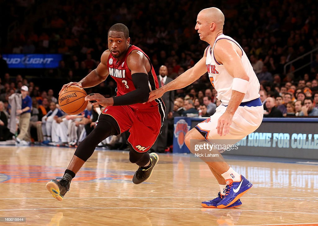 Dwyane Wade #3 of the Miami Heat drives to the basket against Jason Kidd #5 of the New York Knicks at Madison Square Garden on March 3, 2013 in New York City.NOTE