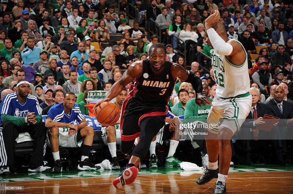 <a gi-track='captionPersonalityLinkClicked' href=/galleries/search?phrase=Dwyane+Wade&family=editorial&specificpeople=201481 ng-click='$event.stopPropagation()'>Dwyane Wade</a> #3 of the Miami Heat drives to the basket against the Boston Celtics on January 27, 2013 at the TD Garden in Boston, Massachusetts.