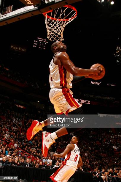 Dwyane Wade of the Miami Heat dunks against the Boston Celtics in Game Four of the Eastern Conference Quarterfinals during the 2010 NBA Playoffs at...